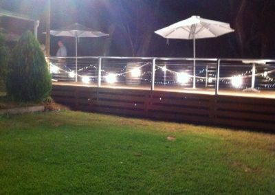 Deck lit with lanterns